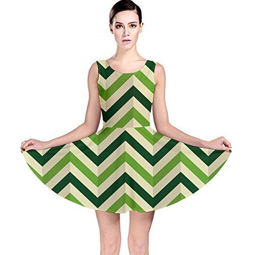 (Green Chevron Zigzag Compressed Paper Wallpaper Green Shades Skater Dress)