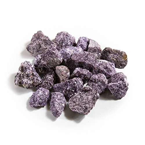 1 lb Bulk Lepidolite Rough Stones - Natural Raw Stones Mix & Fountain Rocks for Tumbling, Cabbing, Polishing, Wire Wrapping, Wicca & Reiki Crystal Healing