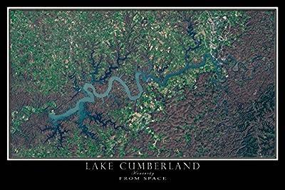 Lake Cumberland Kentucky From Space Satellite Poster Map