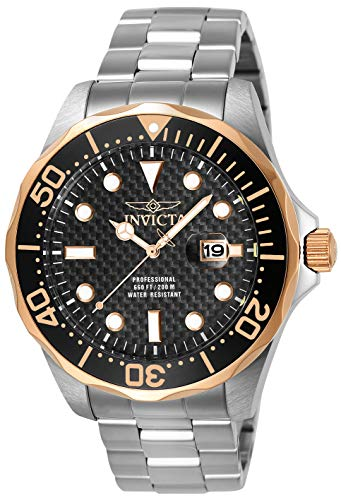 Invicta Men's 12567 Pro Diver Black Carbon Fiber Dial Stainless Steel Watch