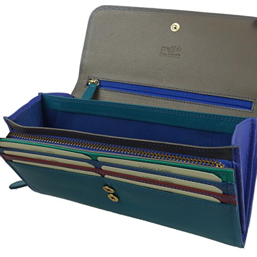 Golunski Women's Leather Flap Over Matinee Purse/Wallet By Colourful Onesize Blue Multi ()