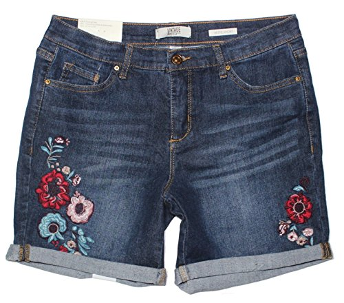 Vintage America Blues Women's Bestie Embroidered Denim Short (4, Pinewood/Lodge)