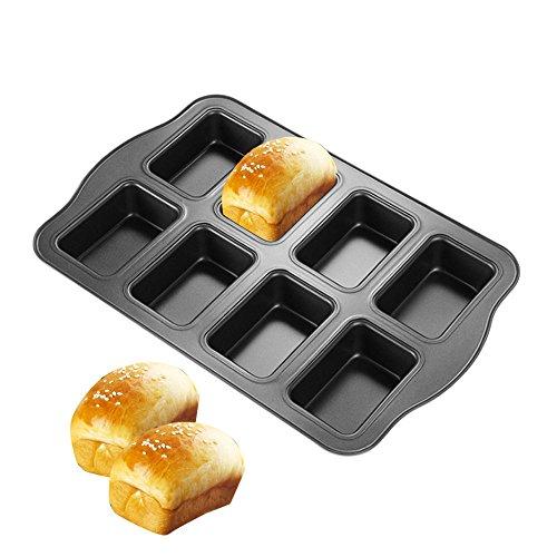 HOMOW Non-Stick Bakeware Brownie Bar Baking Pan, Mini Loaf Pan, Square Cake Pan, 8-Cavity (14