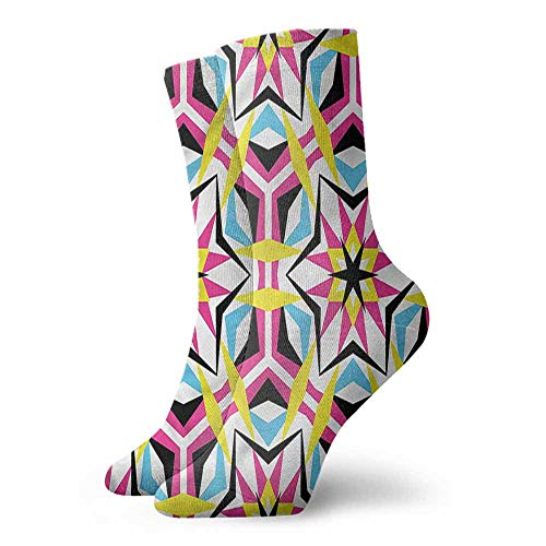 Men Multicolored Pattern Psychedelic Disco Geometric Stars Hiker Boot Sock