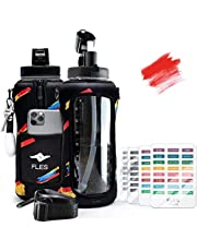 FLES 64 oz Water Bottle with Straw (Splash Red). Time Marker Stickers to Track Times to Drink. 2 Liter BPA Free Bottle and Phone Holder Sleeve with Strap.