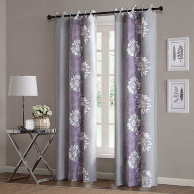 Anaya Cotton Grommet Curtain Single Panel Color: Purple / Grey