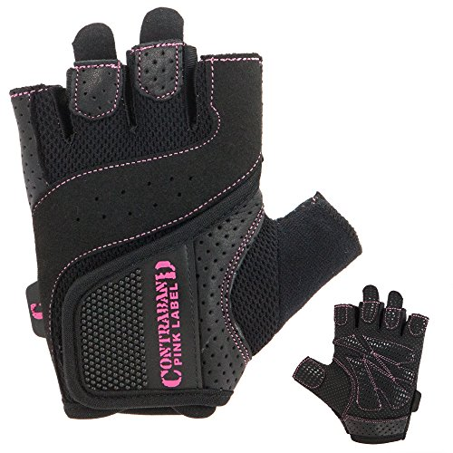 Contraband Pink Label 5137 Womens Weight Lifting Gloves w/Grip-Lock Padding (PAIR) (Black, Small) ()