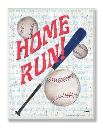 The Kids Room by Stupell Homerun Baseball Bat Typography Rectangle Wall Plaque, 11 x 0.5 x 15, Proudly Made in USA ()
