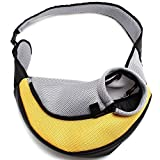 ENJOYING Pet Dog Cat Puppy Carrier Mesh Travel Tote Shoulder Bag Sling Backpack (Yellow, L) Review