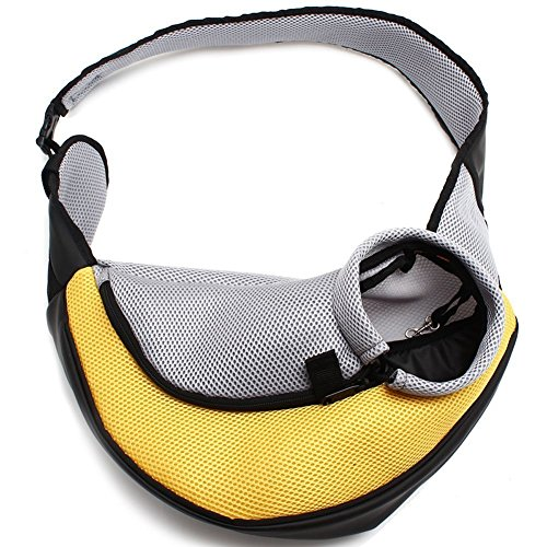 ENJOYING Pet Dog Cat Puppy Carrier Mesh Travel Tote Shoulder Bag Sling Backpack (Yellow, L)