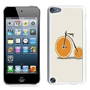 NEW Unique Custom Designed iPod Touch 5 Phone Case With Orange Wedges Wheels Bicycle Minimal_White Phone Case