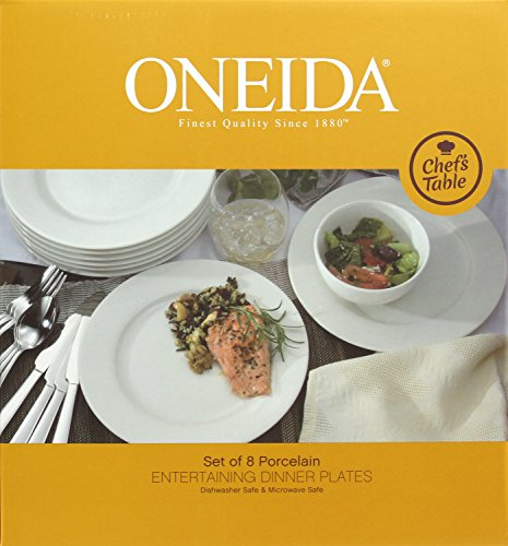 Oneida Chef's Table Dinnerware and Flatware Separates,Silver (8-Pc Dinner Plates)