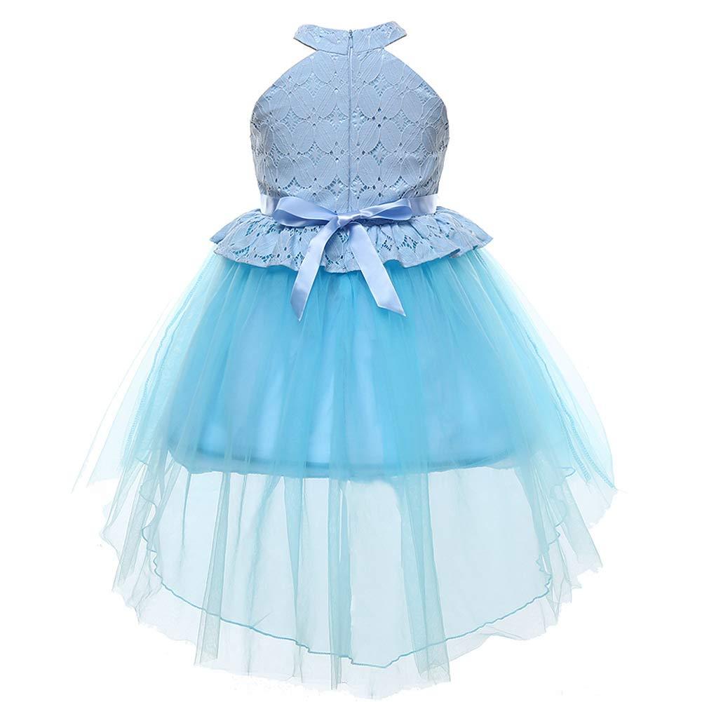bleu 100cm GXYCP Robe pour Les Filles Mariage Queue d'aronde Robe De Soirée Cocktail De Demoiselle d'honneur Robe,bleu,110Cm