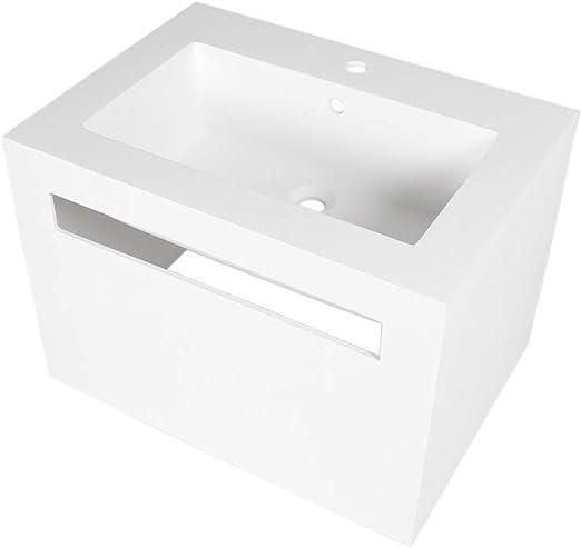 Porcelanosa Wonduu Lavabo Blanco Cuadrado De Resina: Amazon.es: Hogar