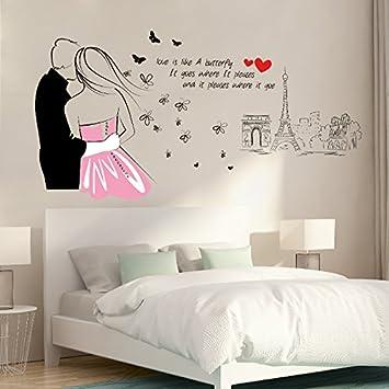HCCY Amovible Mur Fond Papier Peint Romantique Chambre Autoadhésif - Papier peint romantique chambre