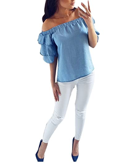 Camisetas Mujer Fiesta Verano Elegante Camisas Anchos Manga Corta Barco Cuello Tops Sin Tirantes Backless Basicas