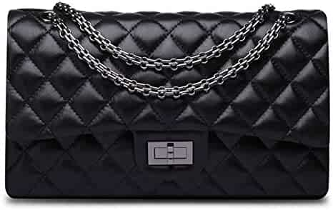 bce102f69fd2b2 Ainifeel Women's Genuine Leather Quilted Shoulder Handbag Hobo Bag  Crossbody Purse Gunmetal hardware