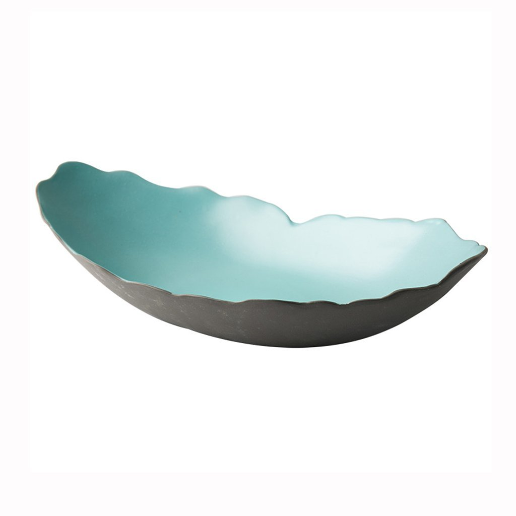 He Xiang Ya Shop Japanese style ceramic plate blue breakfast plate fruit salad plate long fish dish home soup plate