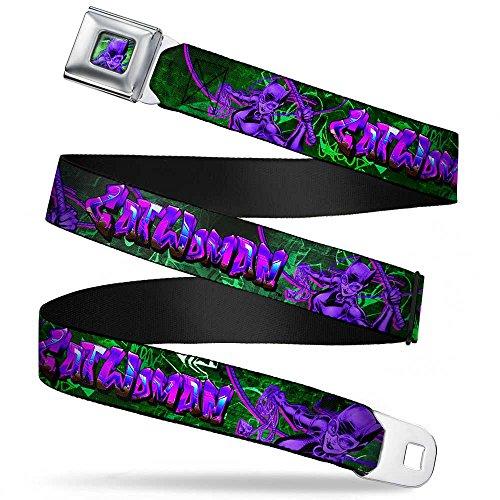 Buckle-Down Seatbelt Belt - CATWOMAN Whip Pose/Graffiti Black/Greens/Purples - 1.5