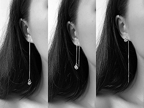 - A&C Fashion Korean Version Alloy and Rhinestones Earrings for Women. Unique Handmade Earrings Jewelry for Girl. (Silver Color)