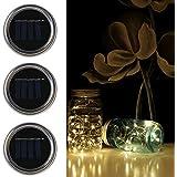 YUHAN 3 Pack Premium Solar Mason Jar String Lights,2M 20 Top Quality LEDs String Fairy Star Lights Screw on Silver Lids for Jar Decor,Wedding,Holiday,Patio Garden Path Lights (Warm White)