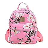 Donalworld Women Floral School Bag Travel Cute PU Leather Mini Backpack S Col6