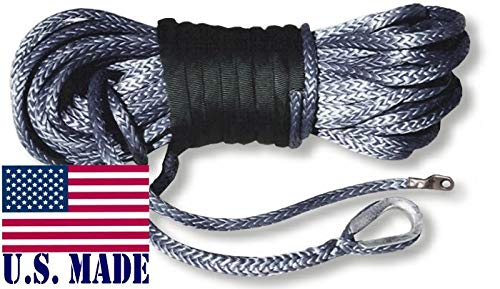 BILLET4X4 U.S. Made AMSTEEL Blue Winch Rope 3/8 inch x 100 ft Black (19,600lb Strength) (Off-Road Vehicle Recovery) by BILLET4X4