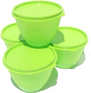 Tupperware Set of 4 Refrigerator Bowls 14 oz in Green