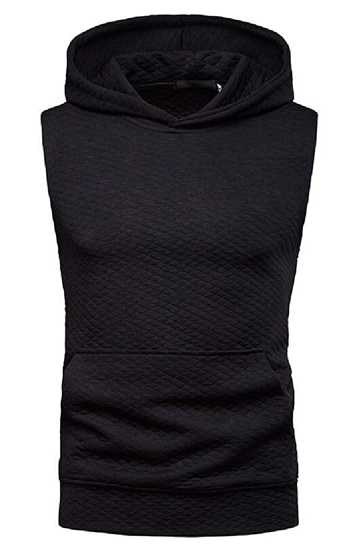 SHOWNO Mens Solid Color Loose Sleeveless Hip Hop Casual Hoodie Tank Tee T-Shirt