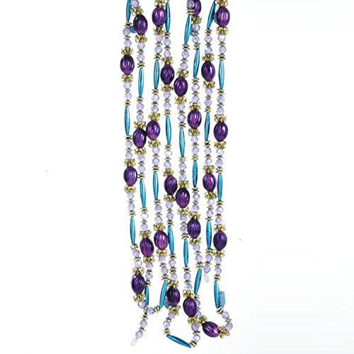Kurt Adler 9' Regal Peacock Purple, Turquoise and Gold Beaded Christmas Garland