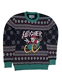 Ugly Christmas Sweater Unisex Xmas Metal Sleigher Santa Sweatshirt-Large