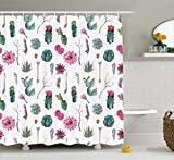 Ambesonne Cactus Decor Shower Curtain, Vintage Botanical Pattern Arrows Feathers Succulent Twigs Hawaii Spring Tropic, Fabric Bathroom Decor Set with Hooks, 75 Inches Long, Multicolor