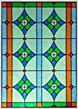 Stained Glass Window Film . Door Window Privacy Film . Non-adhesive . Static Cling Film . Frosted Privacy Window Film (24'' x 48'')