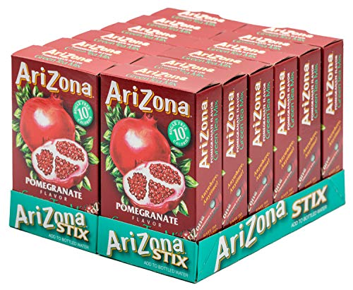 (Arizona Green Tea Pomegranate Iced Tea Stix Sugar-Free, 10 Count Per Box (Pack of 12), Low Calorie Single Serving Drink Powder Packets, Just Add Water for a Refreshing Iced Tea)