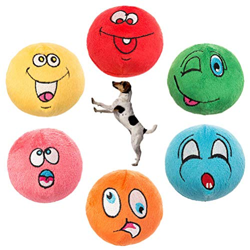 KOOLTAIL Dog Squeaky Toys Plush Balls 6 Pack - Small Dog Toys Cute Emoji Soft Interactive Chew Toy for Puppy Small Medium Dogs & Cats ()