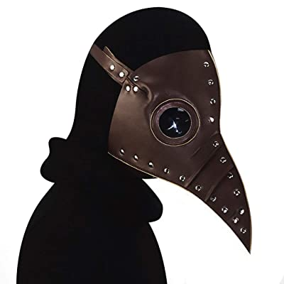 KTASLL Leather Steampunk Full Face Plague Doctor Bird Mask Long Nose Beak Faux Cosplay Halloween Christmas Costume Props Horror Mask (Color : Style5): Home & Kitchen