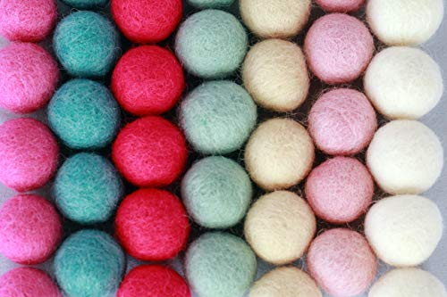 100% Handmade Wool Felt Pom Poms - (50) Pure New Zealand Wool Felt Balls - DIY Pompoms - Assorted Pastel Colors - 0.8-1.0