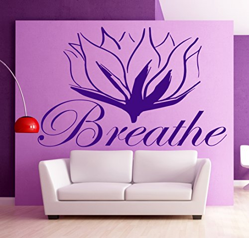 Breathe Lotus Flower Yoga India Spirit Body Mind Mystical Sanskrit Sound Decor Wall Mural Vinyl Art