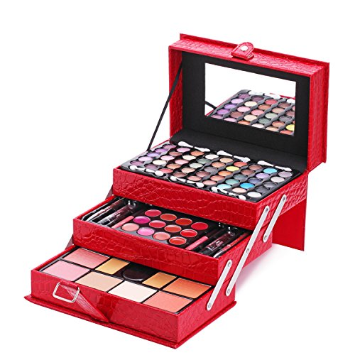 Make Up Kits (Maùve Professional Leather Train Case with Mirror Makeup Kit (Eyeshadow, Blushes, Powder, Lipstick & More) Holiday Exclusive MU12)