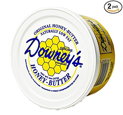 Honey Butter Spread - Downey's Natural Honey Butter Variety Pack, Original and Cinnamon Flavors, 8 Oz. Tubs (Pack of 2)