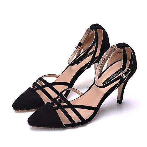 Amarillo Zapatos De Tacón Alto Moda/Sexy Sandalia Perforada En Baotou De Punta Negro
