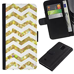 Stuss Case / Funda Carcasa PU de Cuero - White Glitter Chevron Pattern Shiny - Samsung Galaxy Note 4 SM-N910