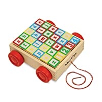 Melissa & Doug Classic ABC Juguete educativo con carrito de bloques de madera con 30 bloques de madera maciza