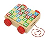 Melissa & Doug Classic ABC Wooden Block Cart Educational Toy With 30 Solid