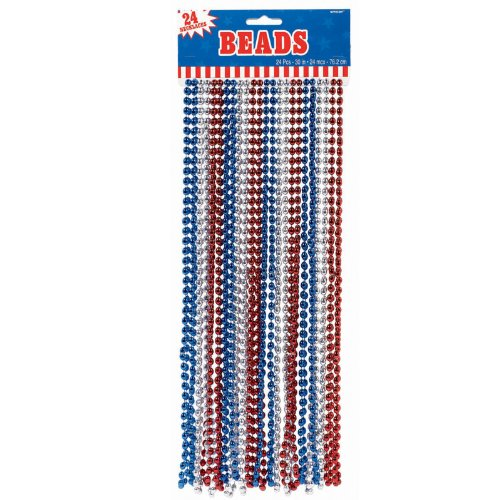 - Red, White & Blue Metallic Beads Party Accessory