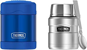 Thermos Funtainer 10 Ounce Food Jar, Blue & Stainless King 16 Ounce Food Jar with Folding Spoon, Stainless Steel