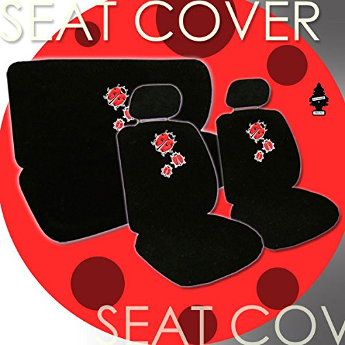 Hhr Bug - 2 Ladybug Design Front Universal Size Low Back Bucket Seat Covers, 5 Head Rest Covers, 1 Ladybug Logo Rear Seat Cover and a 2 oz Purple Slice Car Wash Free Air Freshener