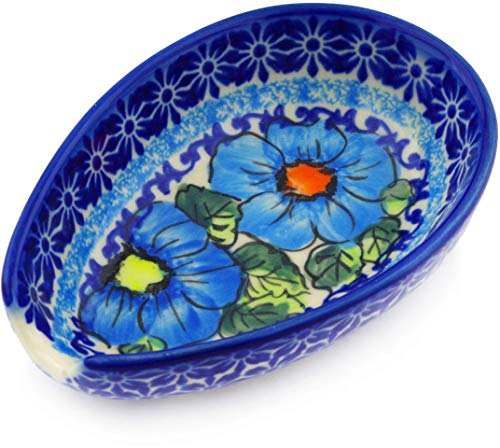 - Polish Pottery 5-inch Spoon Rest (Bold Blue Poppies Theme) Signature UNIKAT + Certificate of Authenticity