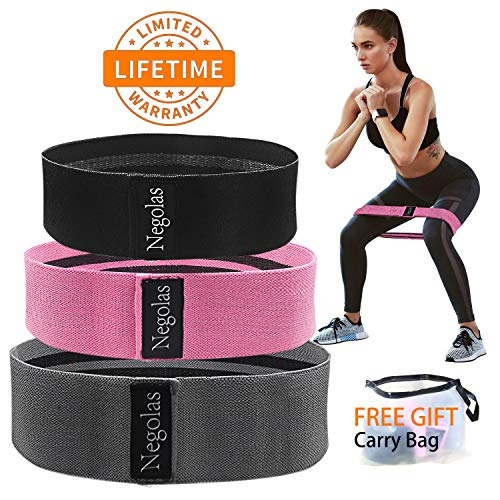 Resistance Exercise Bands for Legs and Butt, Workout Booty Bands Wide Elastic Loop Thick Cloth Thigh Bands Fitness Hip Circle Non Slip Stretch Bands with Free Carry Bag