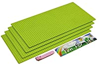 Lego-Compatible Brick Building Base 15'' x 7.5'' (4 Pack) Apple Green Baseplate with a Brick Separator- by Fun For Life